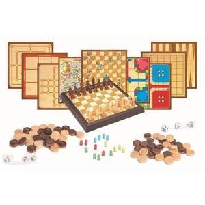 Coffret multijeux - Jeux d'échecs 12 en 1 - pièces en bois