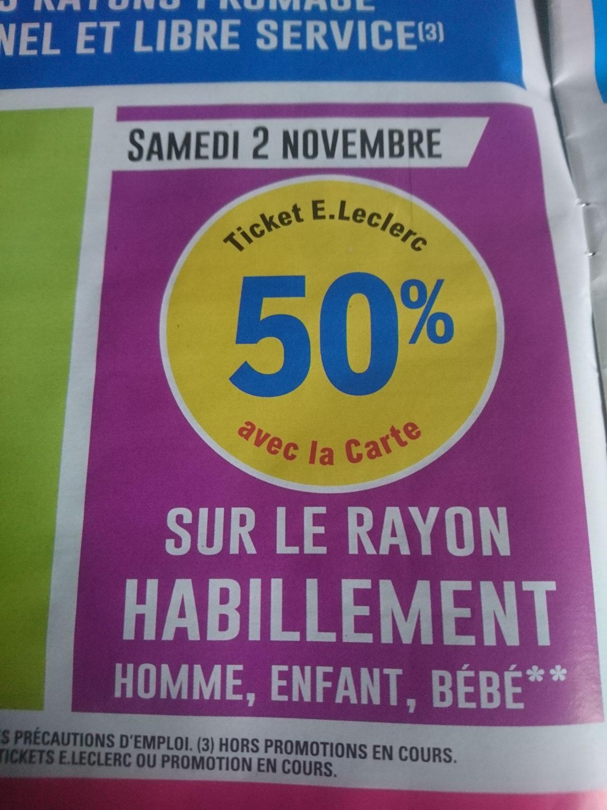 50% remboursés en bon d'achat sur l'habillement - leclerc Poitiers (86)