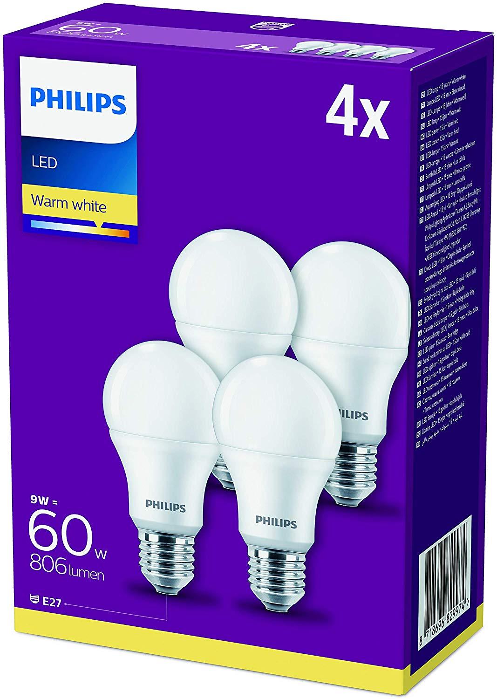 4 Ampoules LED Philips 9W classe A+