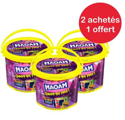 3 seaux de bonbons Haribo Maoam Halloween - 3x960 g