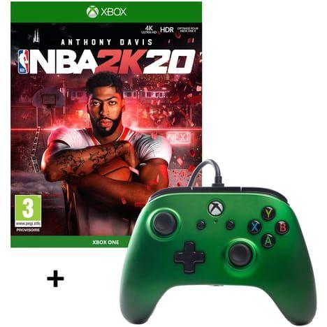 Pack Manette filaire PowerA pour Xbox One (Vert Emeraude) + Jeu NBA 2K20 sur Xbox One