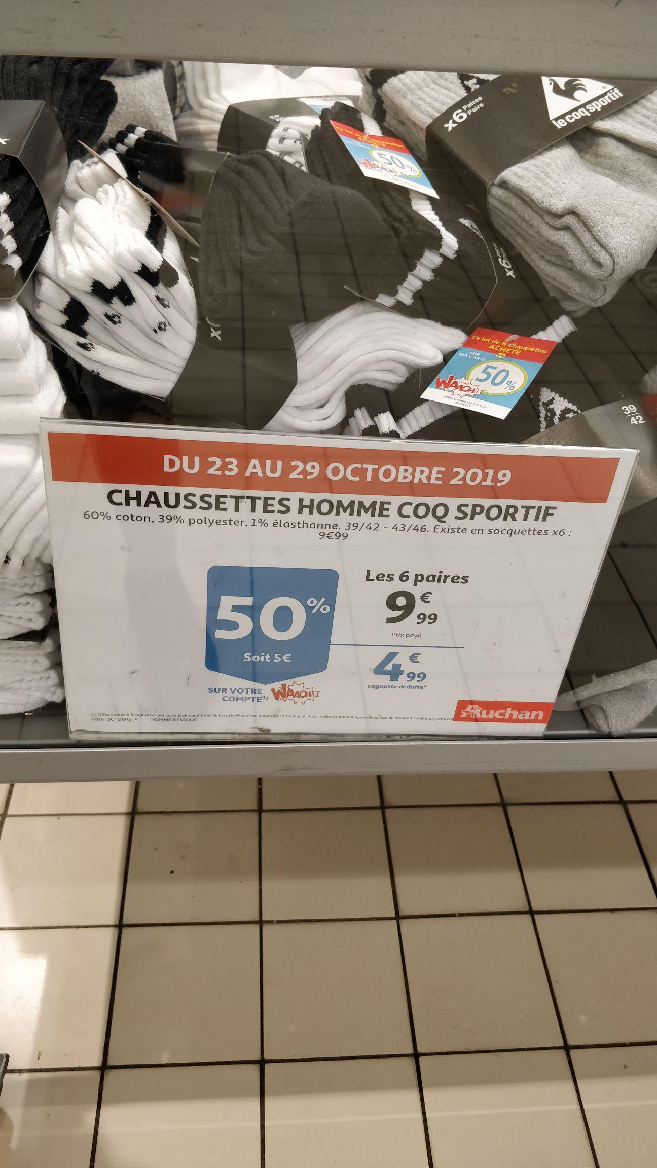 Lot de 6 paires de chaussettes Le Coq Sportif - du 39 au 46 (via 5€ sur la carte de fidélité) - Noyelles-Godault (62)