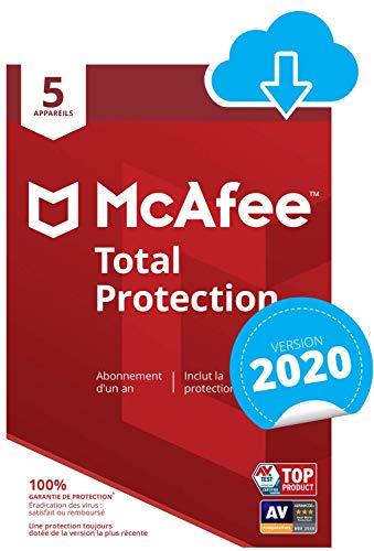 Logiciel antivirus McAfee 2020 Total Protection - licence d'un an, pour 5 appareils (dématérialisé)