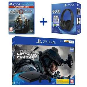 Pack Console Sony PlayStation 4 - 1To + Call of Duty Modern Warfare + Casque Sans Fil Sony Gold + God Of War