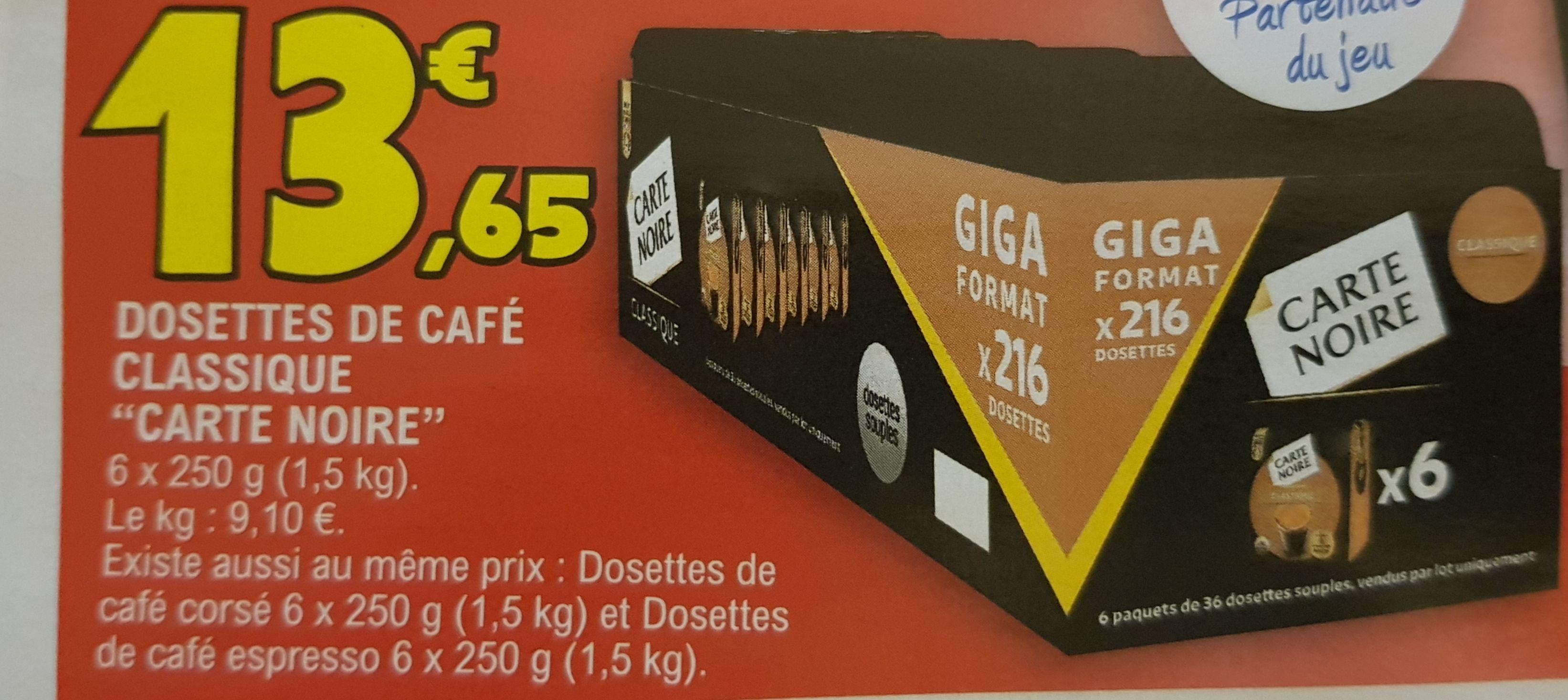Lot de 216 dosettes Carte Noire senseo