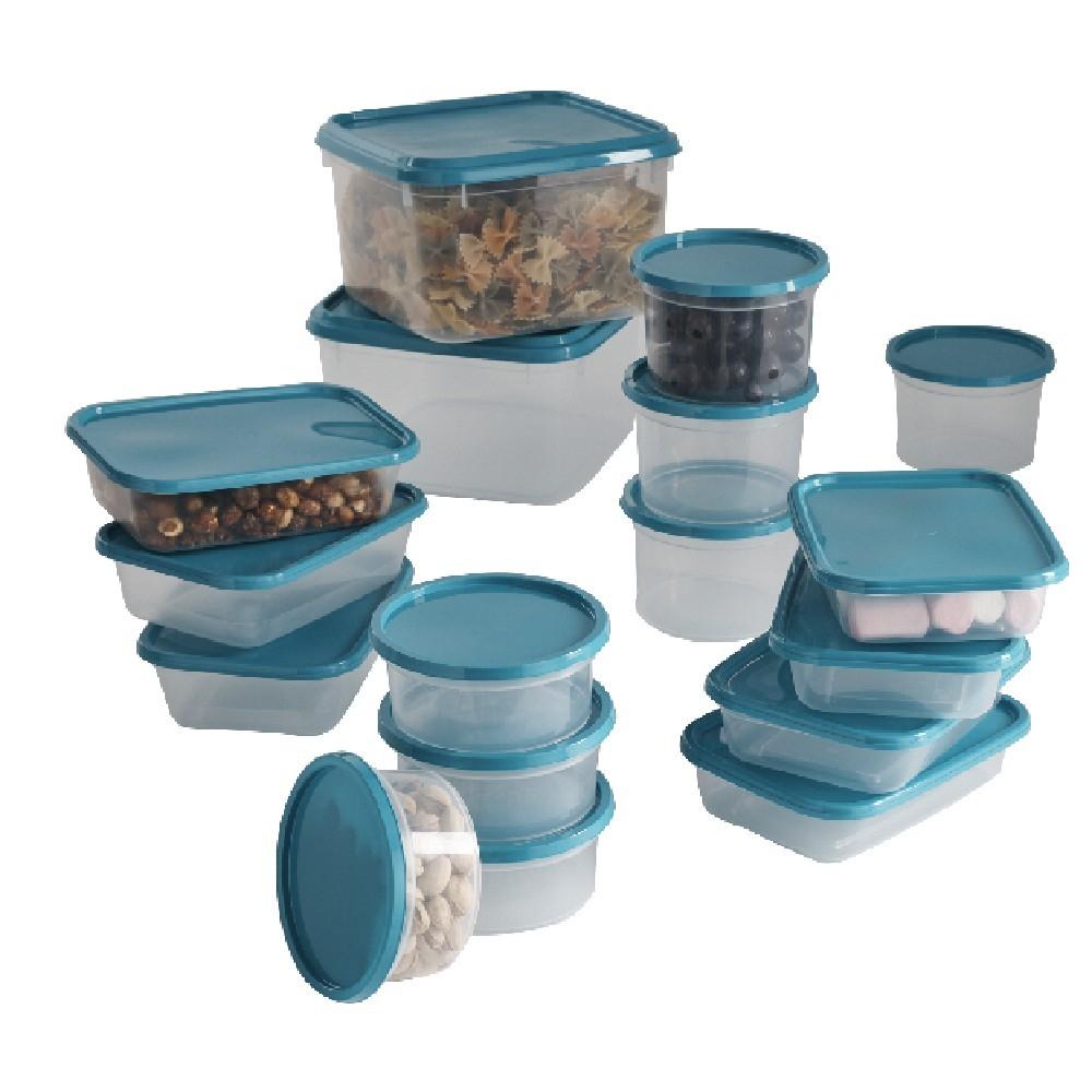 17 boîtes de conservation alimentaires - Bleu