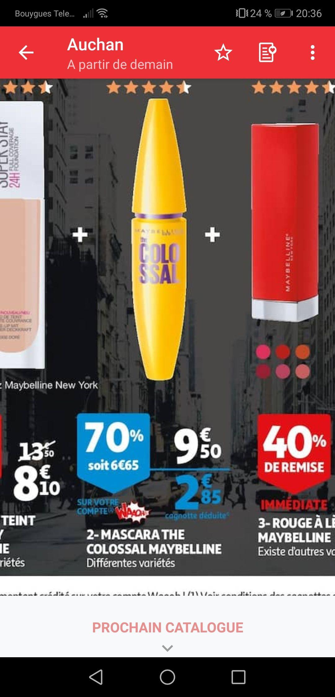 70% offert en remise fidélité sur une sélection de produits Maybeline - Ex : Mascara Maybelline (via 6,65€ sur la carte)