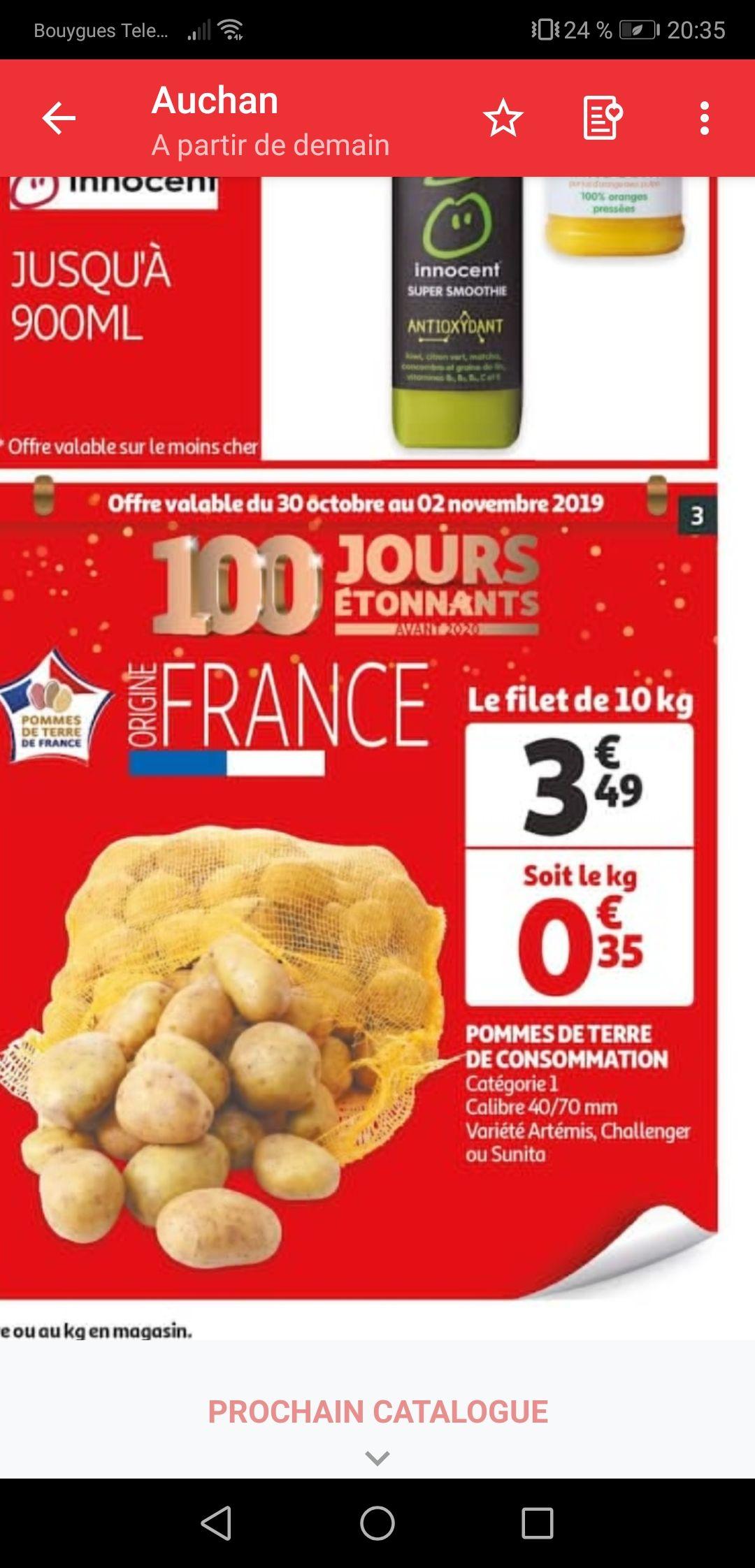 Filet de pommes de terre Artémis, Challenger ou Sunita - origine France, cat. 1, 10 kg