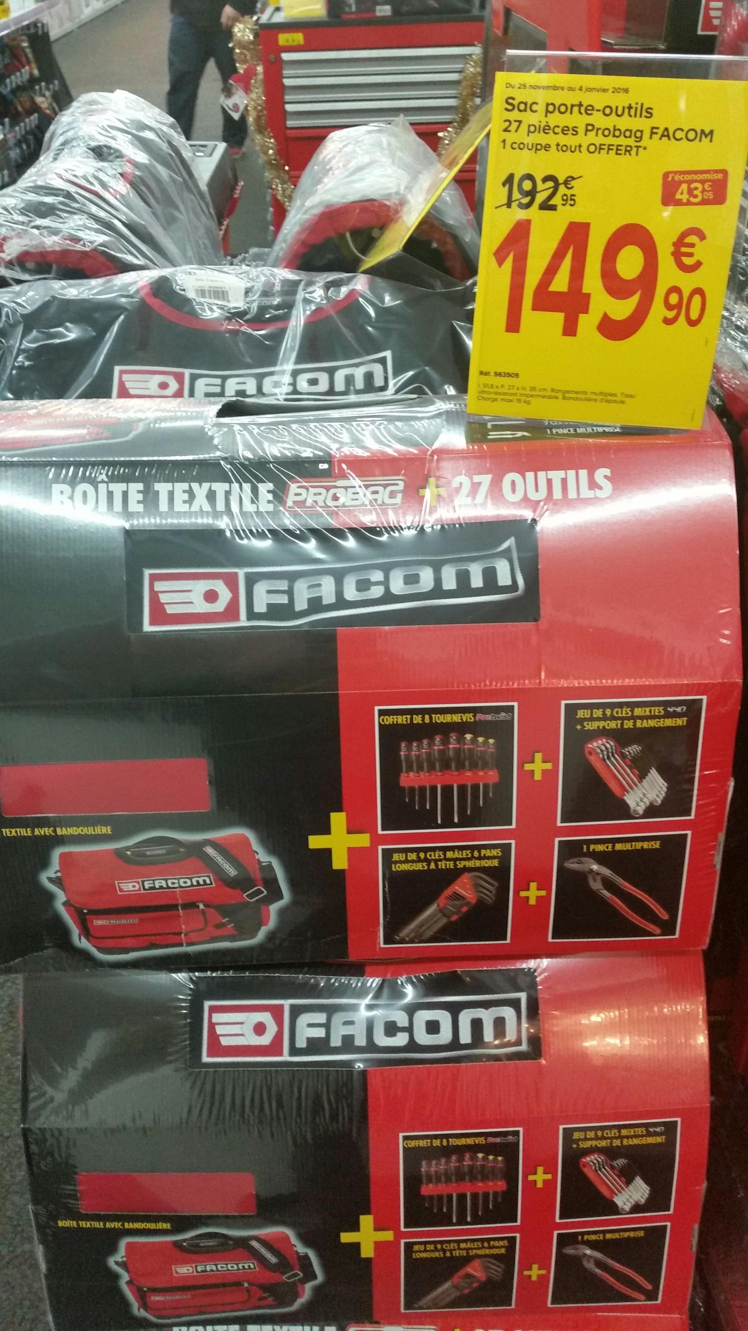 Sac porte-outils Facom Probag 27 pièces + coupe tout offert
