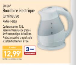 Bouilloire électrique lumineuse Quigg T-802A