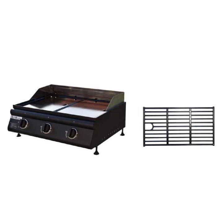 Plancha à gaz Grill Garden - 3 feux inox,11Kw, plaque fonte amovible + Grille offerte
