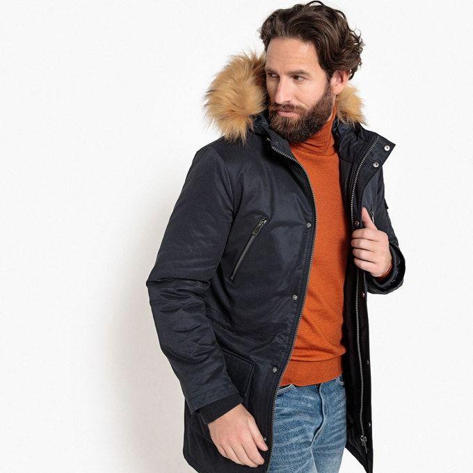 Jusqu'à 80% de réduction sur l'Outlet - Ex : Parka Homme mi-longue à capuche imitation fourrure