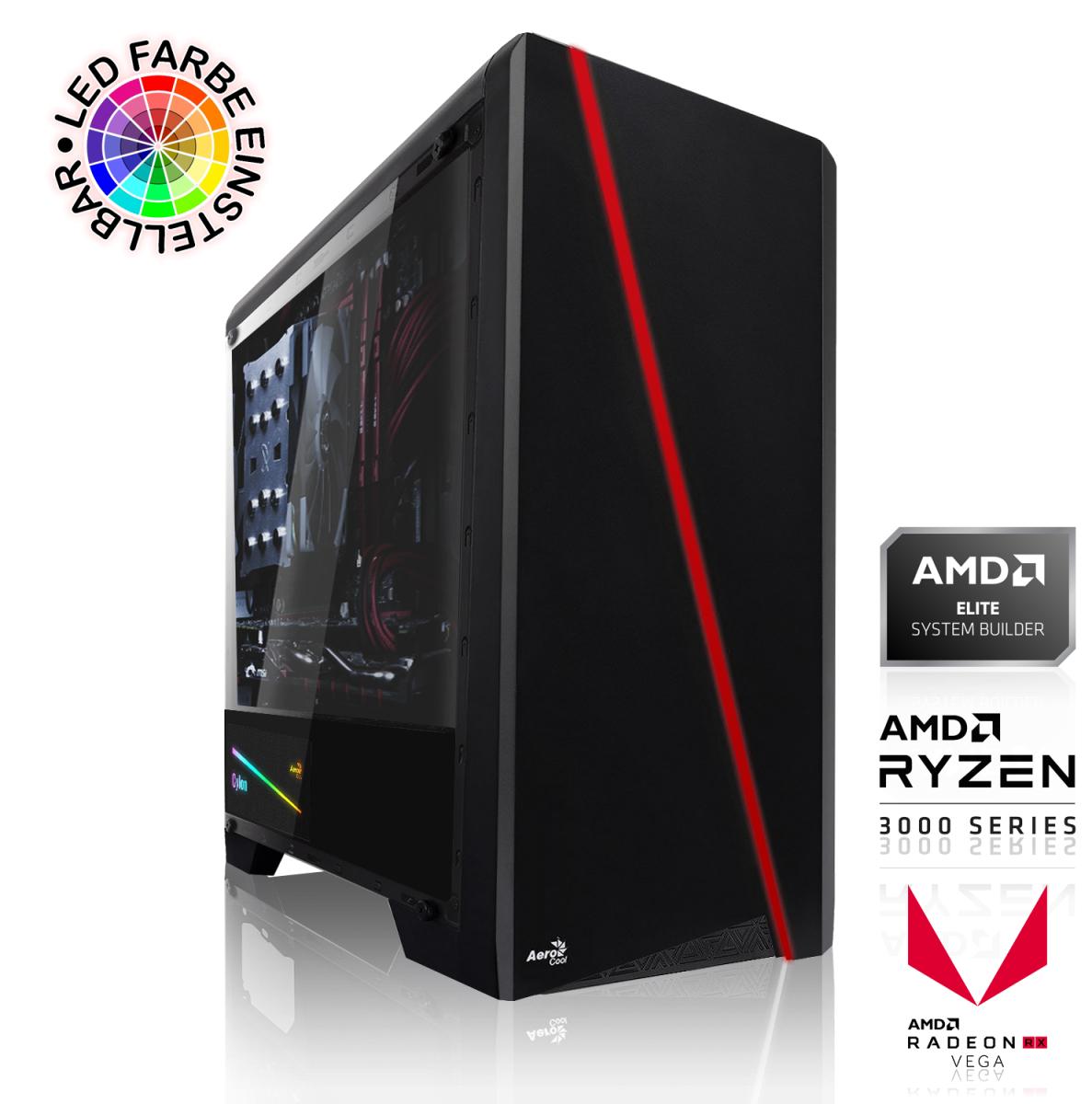 PC de Bureau - AMD Ryzen 5 3600 6x3.60GHz, 16 Go DDR4,480 Go SSD, RX Vega 56