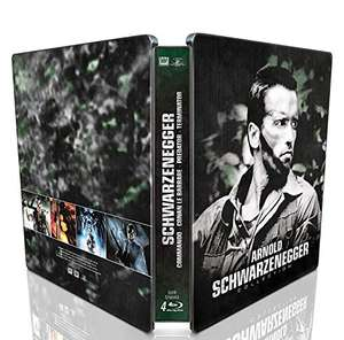 Blu-ray Arnold Schwarzenegger : Conan le barbare + Commando + Predator + Terminator (boîtier SteelBook)