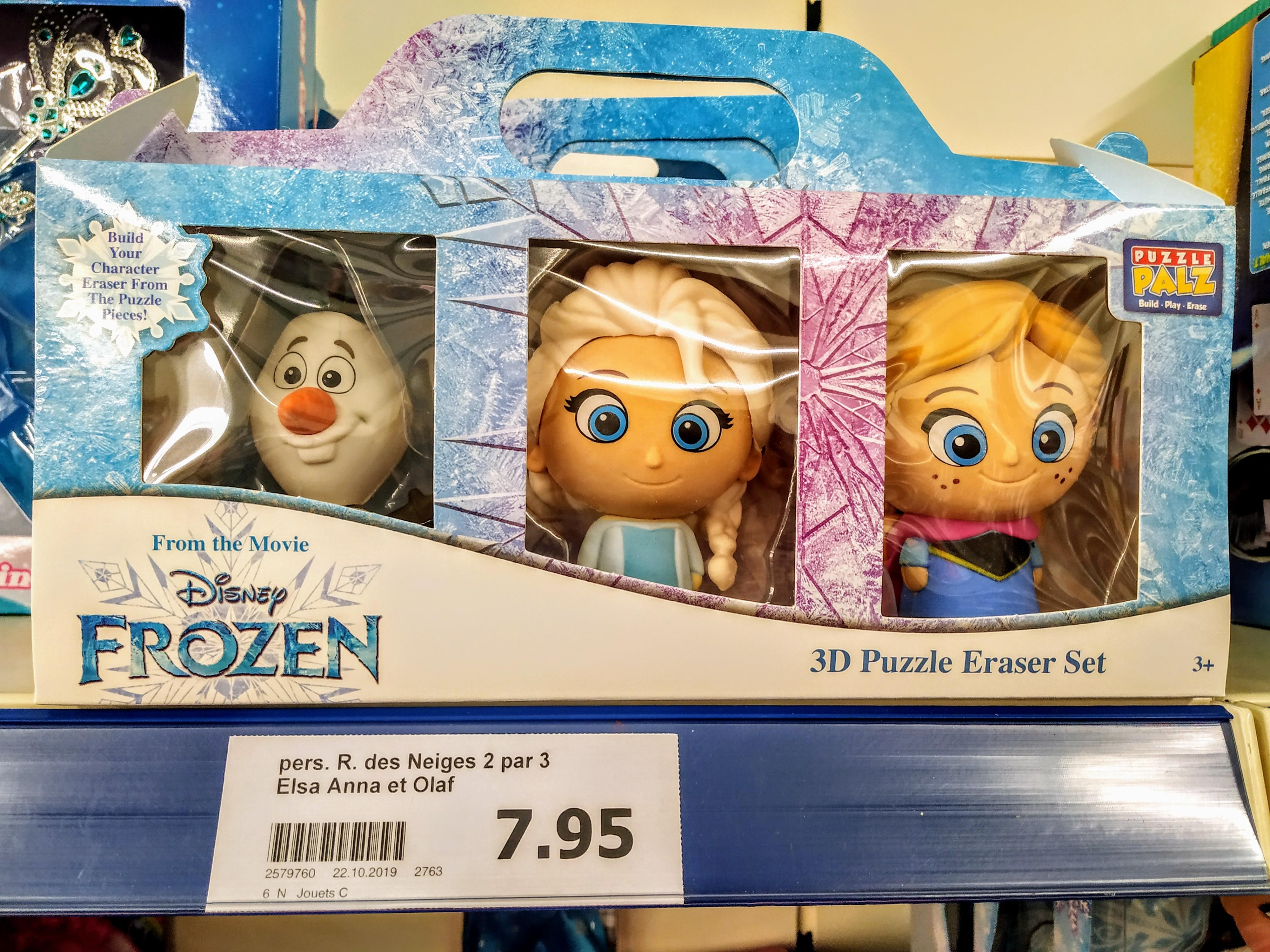 Pack 3 Puzzel 3D Reine des neiges (Elsa ,Anna et Olaf) Gomme Licence