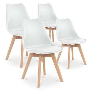Lot de 4 Chaises style Scandinave Catherina - Blanches