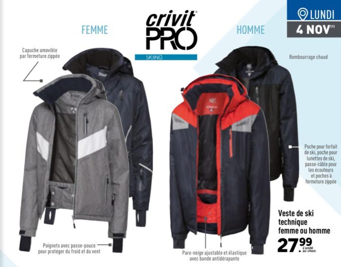 Sélections de vêtements de ski - Ex: Veste de ski Homme ou Femme à 27.99€