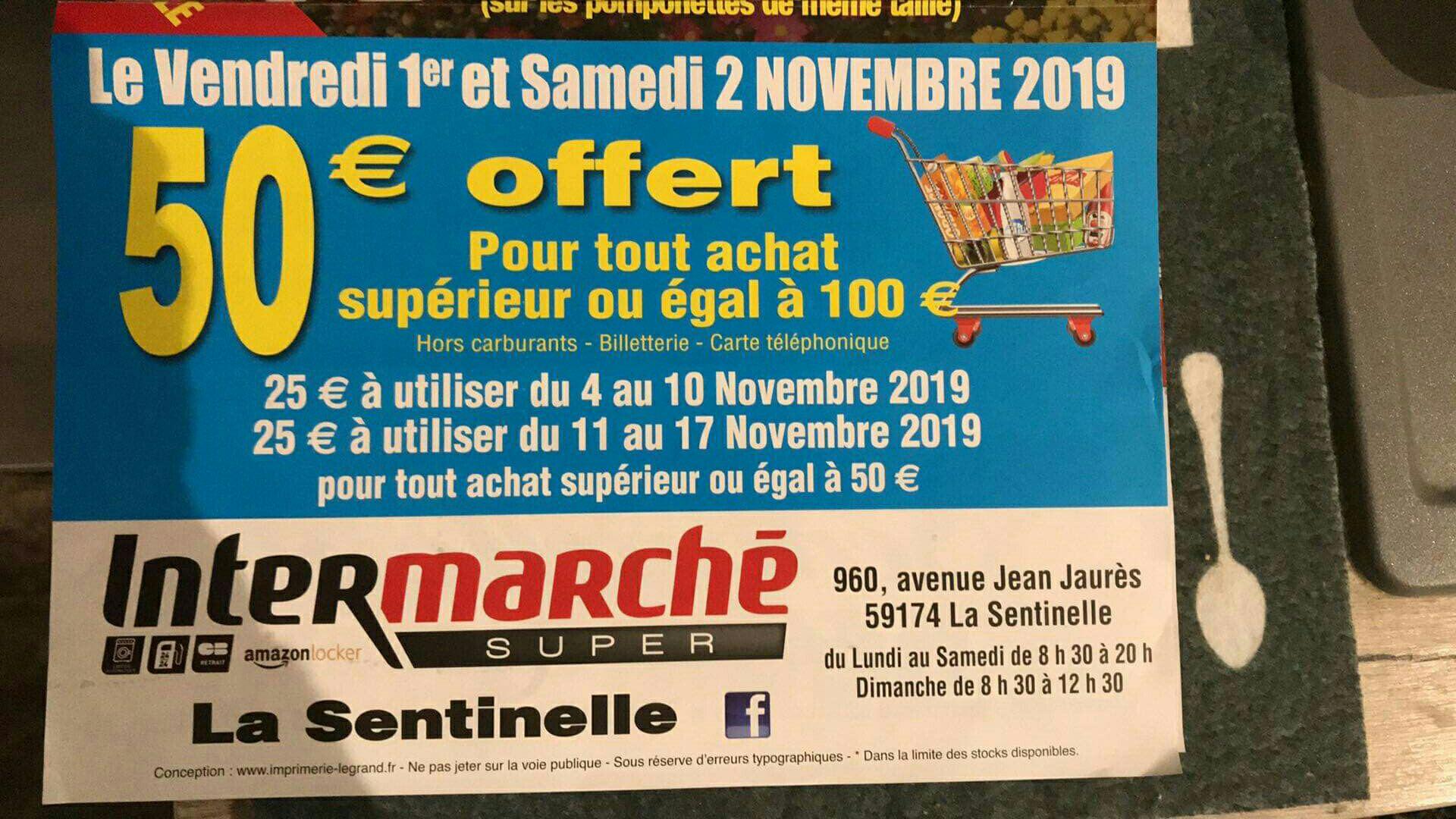 50€ en bons d'achat pour tout achat supérieur ou égal à 100€ (Hors exceptions) - La Sentinelle (59)
