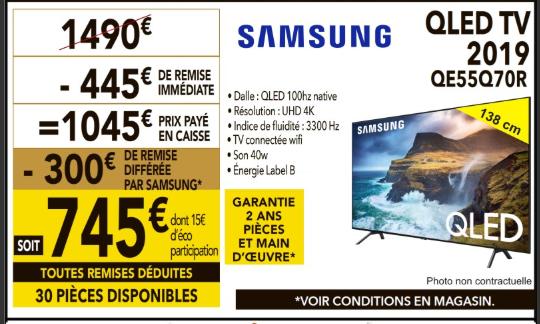 "TV QLED 55"" Samsung QE55Q70R 2019 - UHD 4K, HDR, 100 Hz, Smart TV (Via ODR 300€) - Brest Gouesnou (29)"