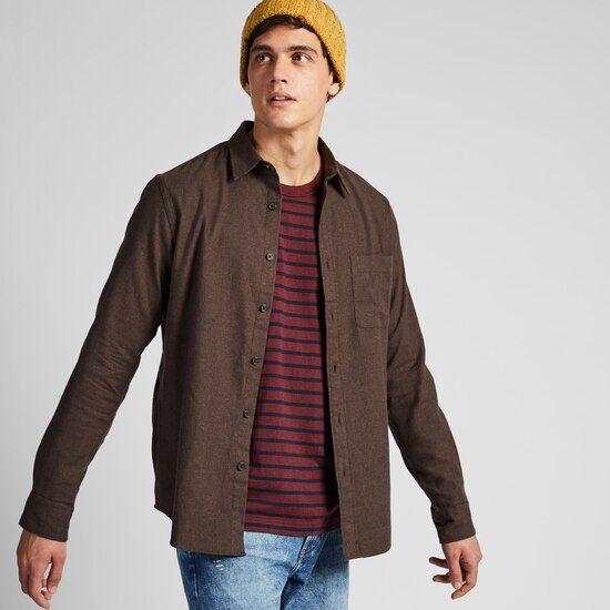 Chemise Homme en flanelle coupe regular (Marron) - Tailles au choix