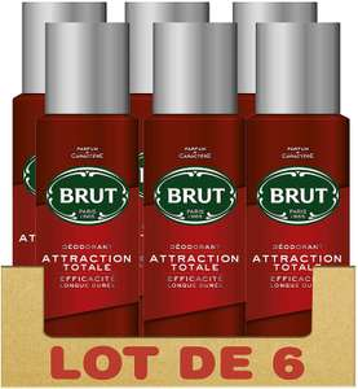 Sélection de Packs de déodorants en promotion - Ex : Pack de 6 déodorants Brut Attraction Totale - 6 x 200 ml