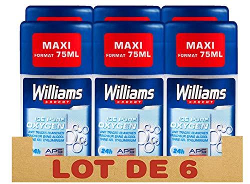 Williams déodorant homme stick ice pure 75ml - Pack de 6