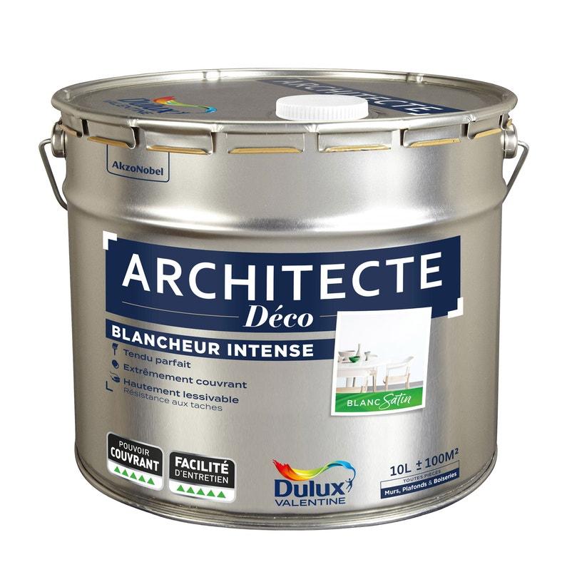 Lot de 2 pots de peinture Dulux Valentine architecte blanc satin - 2 x 10L
