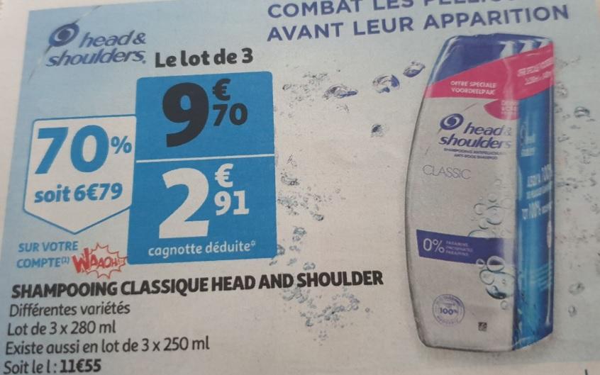 Sélection de produits en promotion - Ex : Lot de 3 Shampoings Head & Shoulders (Différentes variétés) - 3 x 280 ml (Via 6.79€ sur la carte)