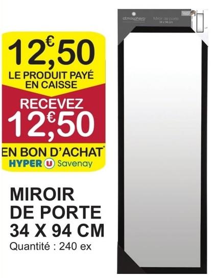 Miroir de porte 100 % remboursé en bon d'achat - Savenay (44)