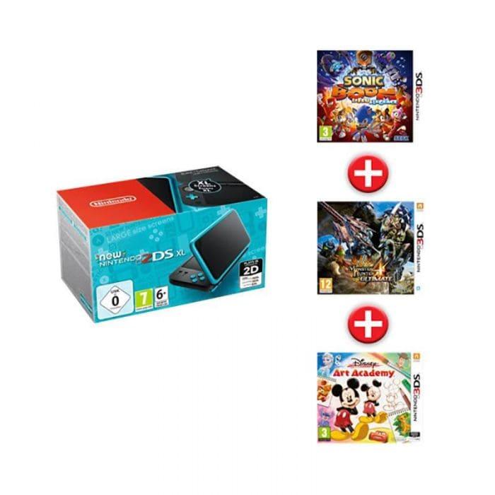 Console Nintendo 2DS XL + Sonic Boom Le Feu et la Glace + Monster Hunter 4 Ultimate + Disney Art Academy