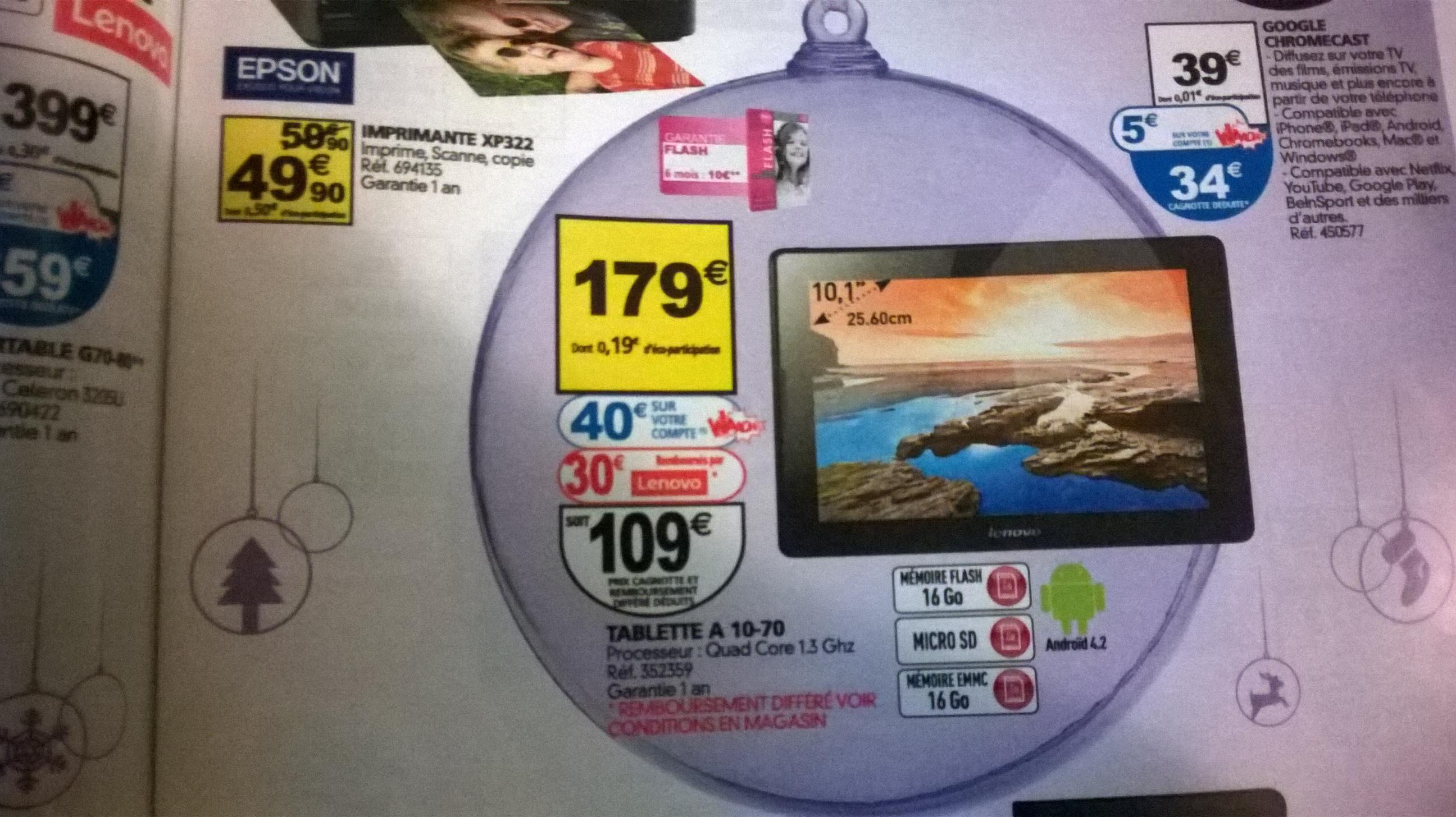 """tablette 10"""" Lenovo A10-70 16 Go (40€ sur la carte et ODR de 30€)"""