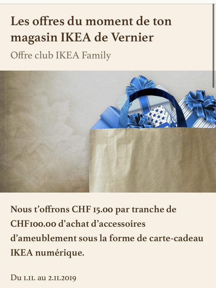 [Ikea Family] 13.64€ (15CHF) offerts en carte cadeau tous les 90.89€ (100CHF) d'achat sur les accessoires d'ameublement (frontaliers Suisse)