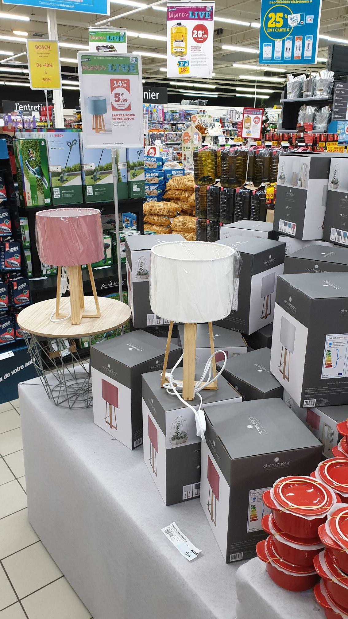 Lampe à poser en pin/coton - Super U Parigné-l'Évêque (72)