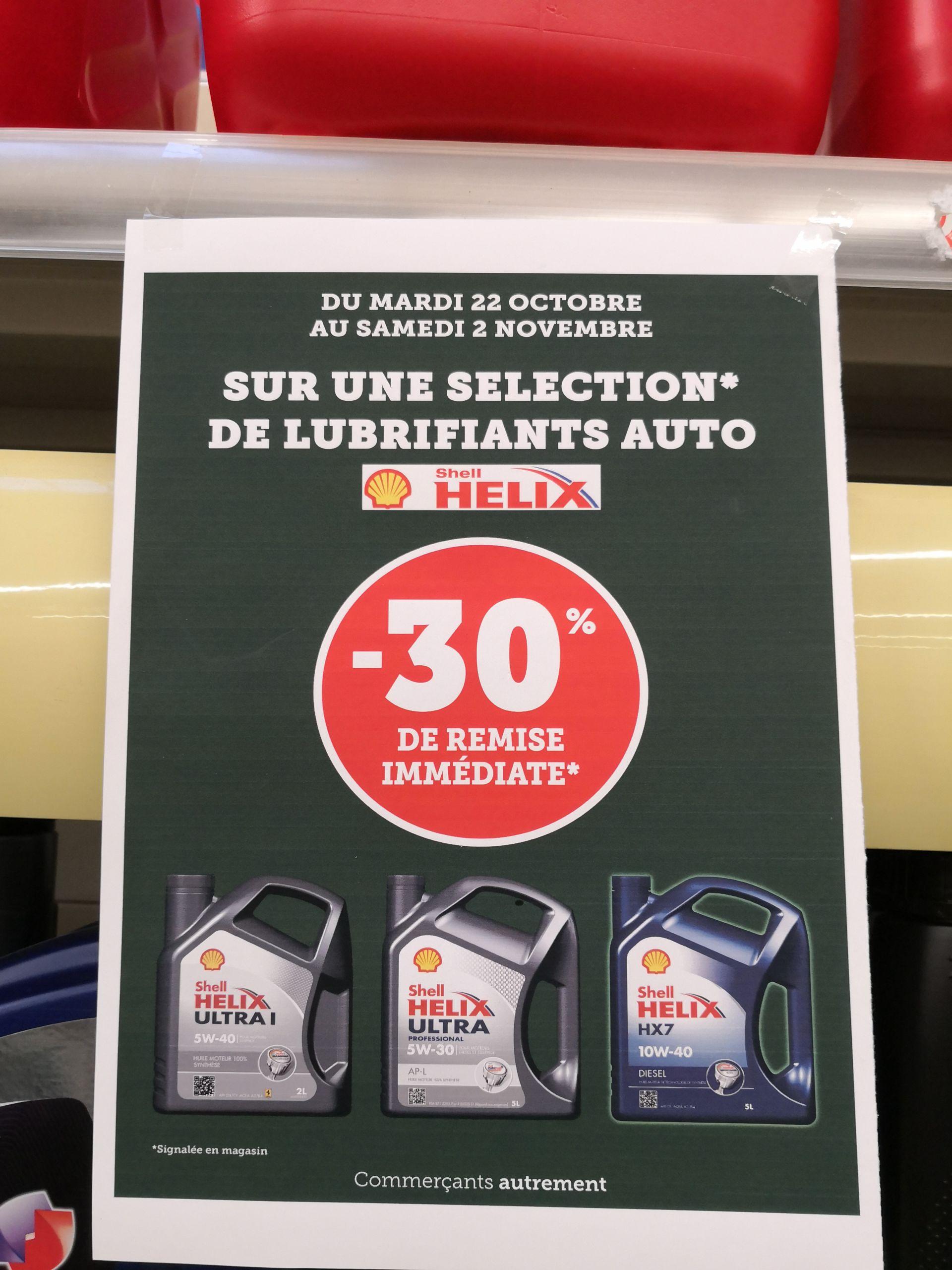 30% de réduction sur une sélection de lubrifiants auto Shell Helix (+ 3€ d'ODR) - Saint-Brieuc / Tréguier (22)
