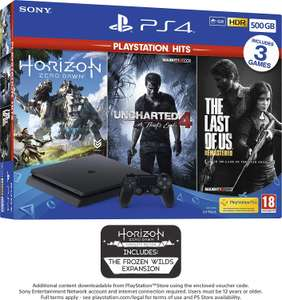 Pack console Sony PS4 Slim (500 Go) + Horizon Zero Dawn + The Last of Us + Uncharted 4: A Thief's End