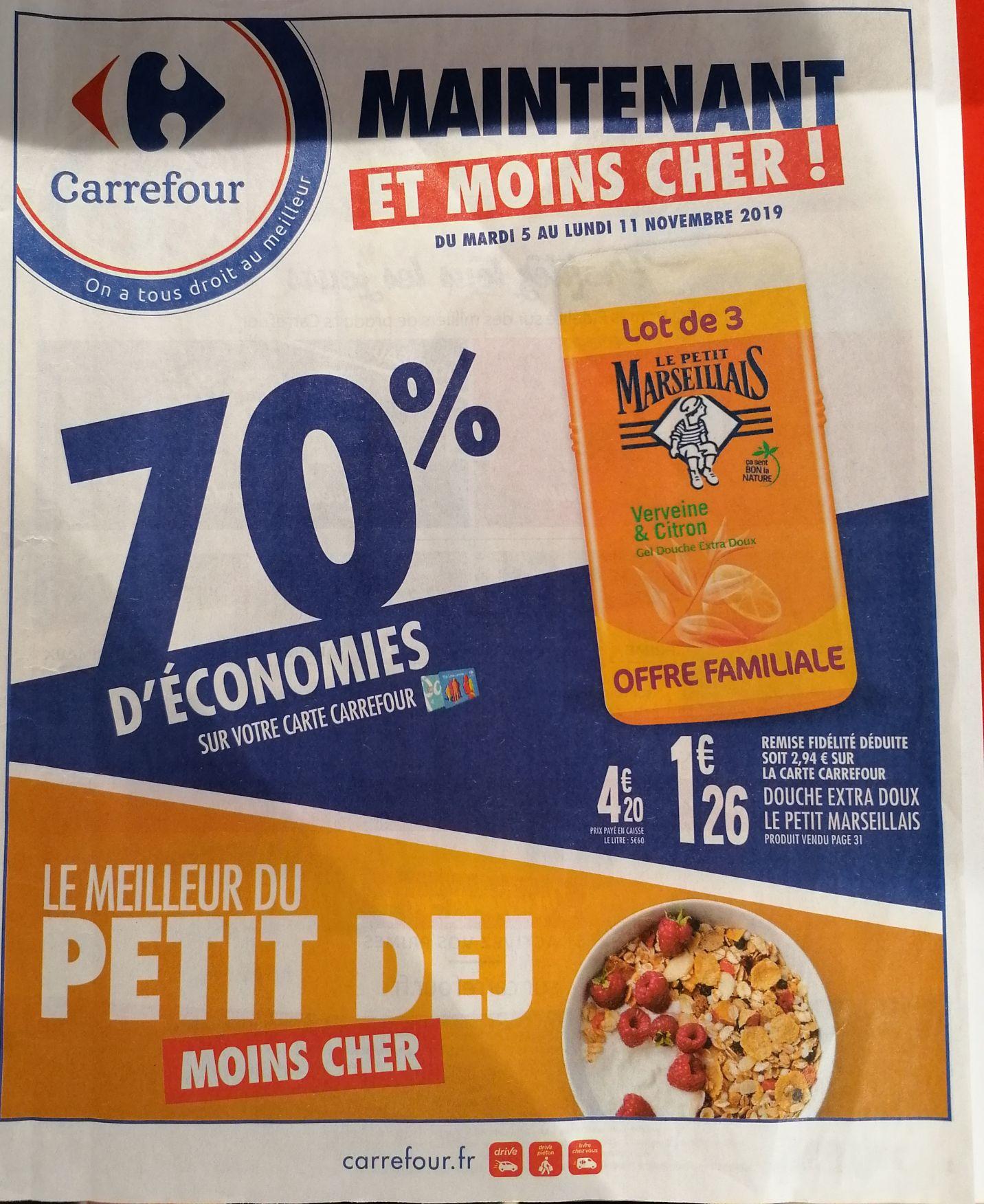 Lot de 3 Gels douche extra doux - Le petit marseillais (Via 2.94€ sur la carte fidélité)