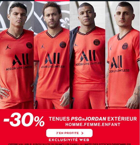 30% de réduction sur les maillots PSG Jordan 2019/2020