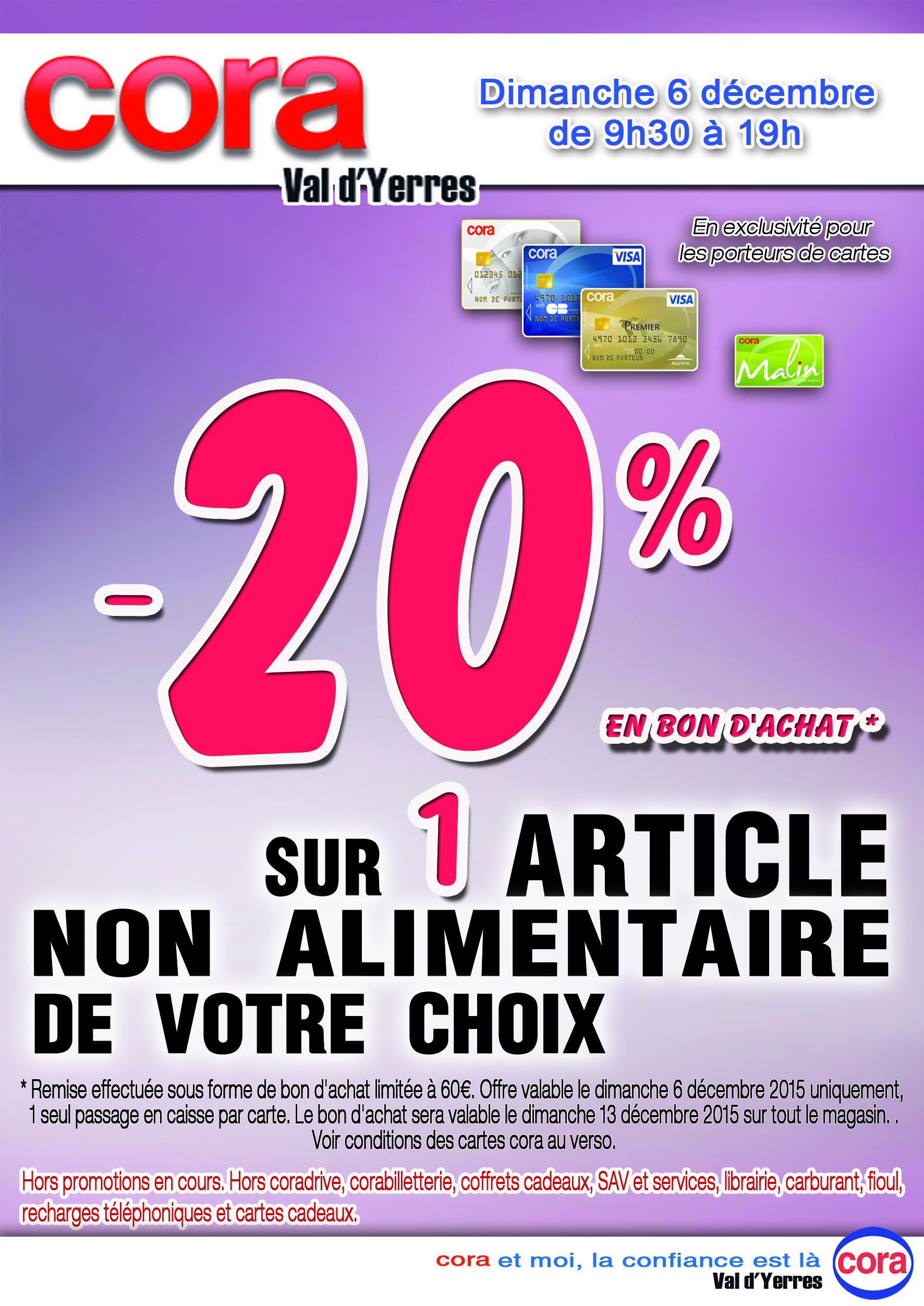 20% offert en bon d'achat sur 1 article non alimentaire de votre choix (maximum 60€ de bon)