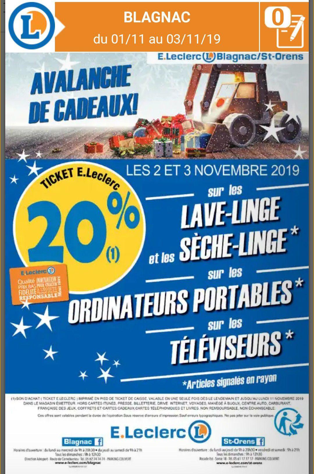 20% remboursés en bon d'achat sur une sélection de sèche linge, lave linge, ordinateurs portables, téléviseurs (Blagnac / Saint Orens 31)