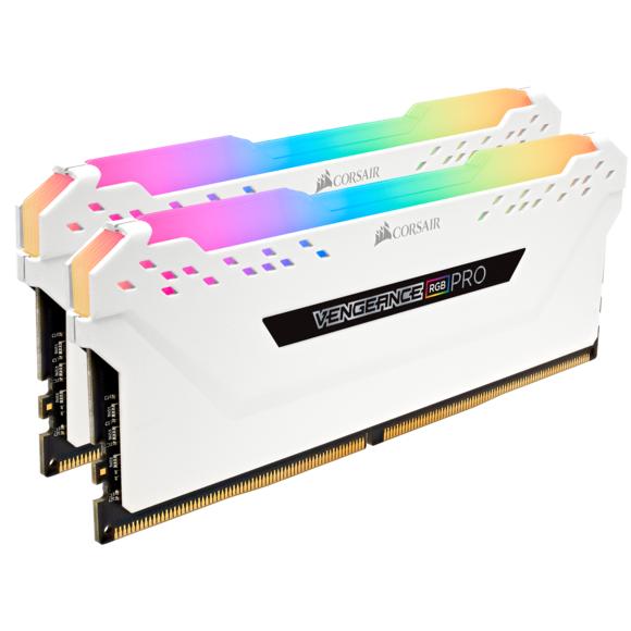 Kit mémoire RAM Corsair Vengeance RGB PRO -16 Go (2X8Go), DDR4, 3200 MHz CAS 16, Blanc