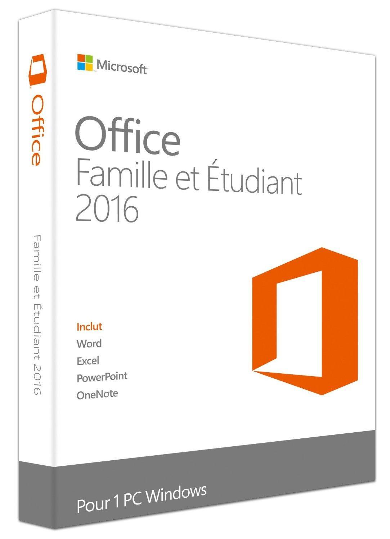 Suite Office 2016 Famille et étudiant (Word, Excel, PowerPoint, OneNote) sur PC