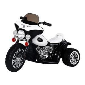 Moto chopper police électrique pour Enfant - 6 V, env. 3 Km/h, 3 roues, effet lumineux et sonore - Noir et blanc (Vendeur tiers)