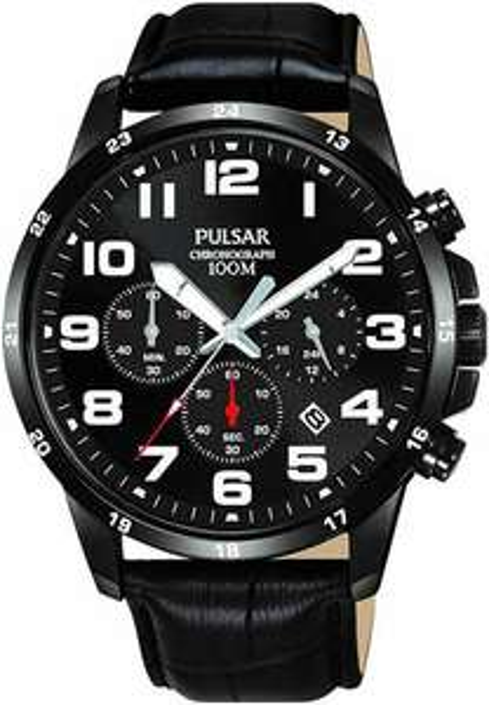 Montre Analogique Quartz Pulsar PT3A07X1 - 43 mm, 10 ATM, Bracelet cuir noir (Vendeur tiers)