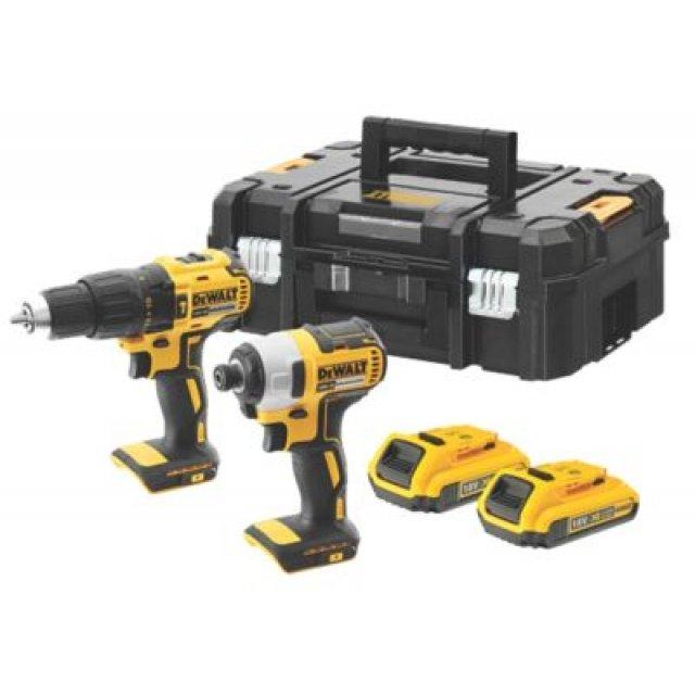 Pack Dewalt DCK2060D2T-SFGB - Perceuse visseuse Brushless + Visseuse à choc Brushless + 2 batteries 2Ah + Chargeur + TSTAK box