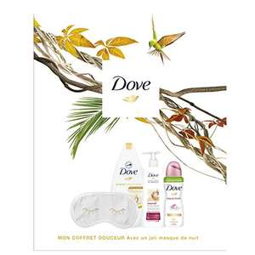 Coffret Cadeau Dove Douceur pour Femmes - Gel Douche Surgras 400ml + Lait Corps 250ml + Déodorant 100ml + Masque de Nuit