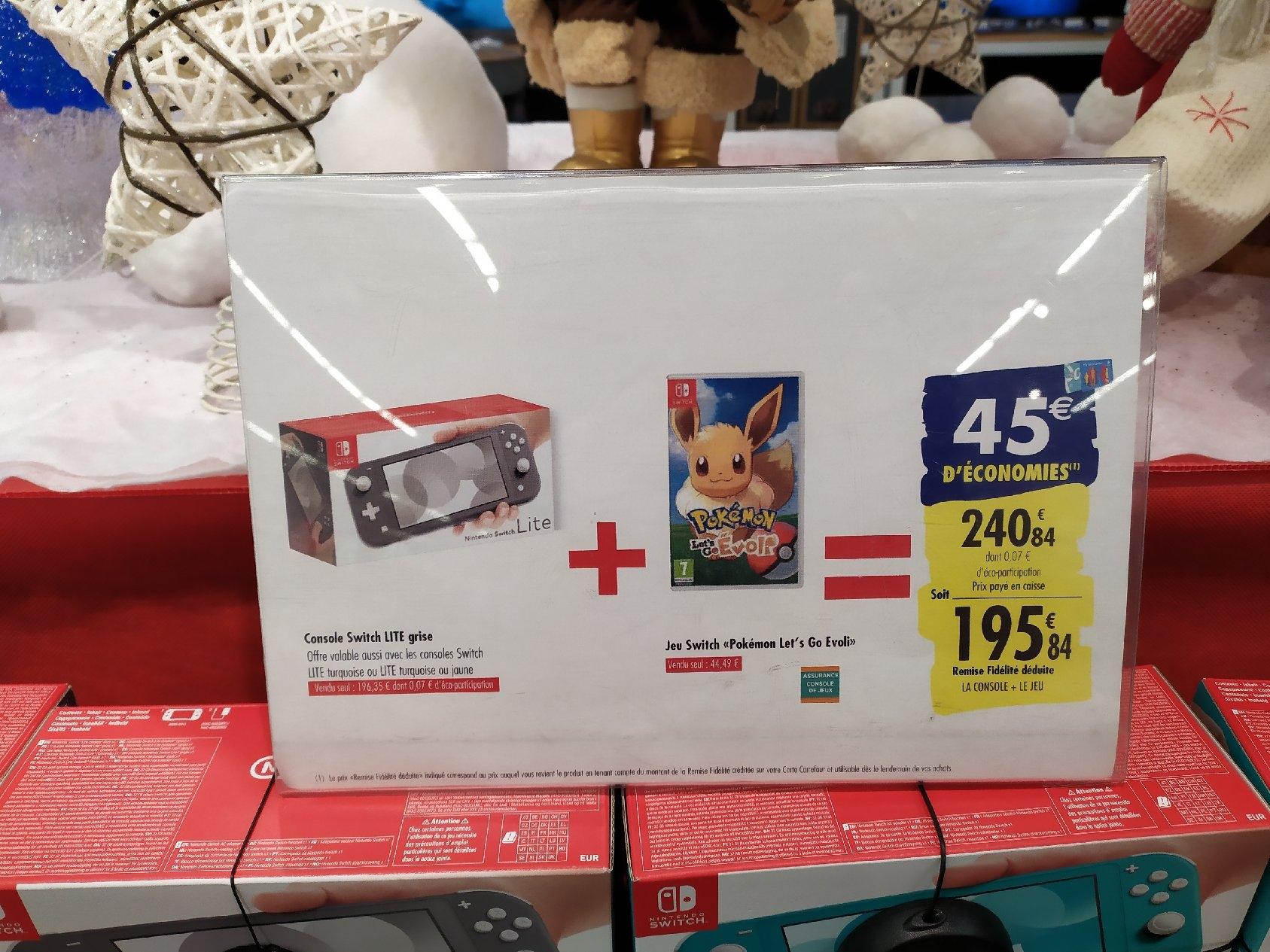 Console Nintendo Switch Lite + Pokémon Let's Go Evoli (via 45€ sur la carte de fidélité)