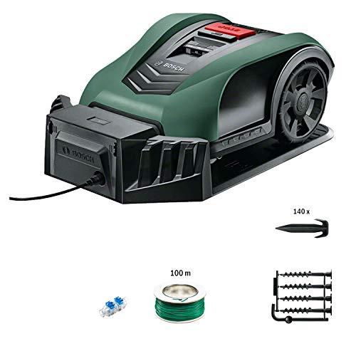 Tondeuse robot connectée Bosch Indego S+ 350 (contrôle avec smartphone, largeur de coupe de 19 cm, superficie jusqu'à 350 m²)