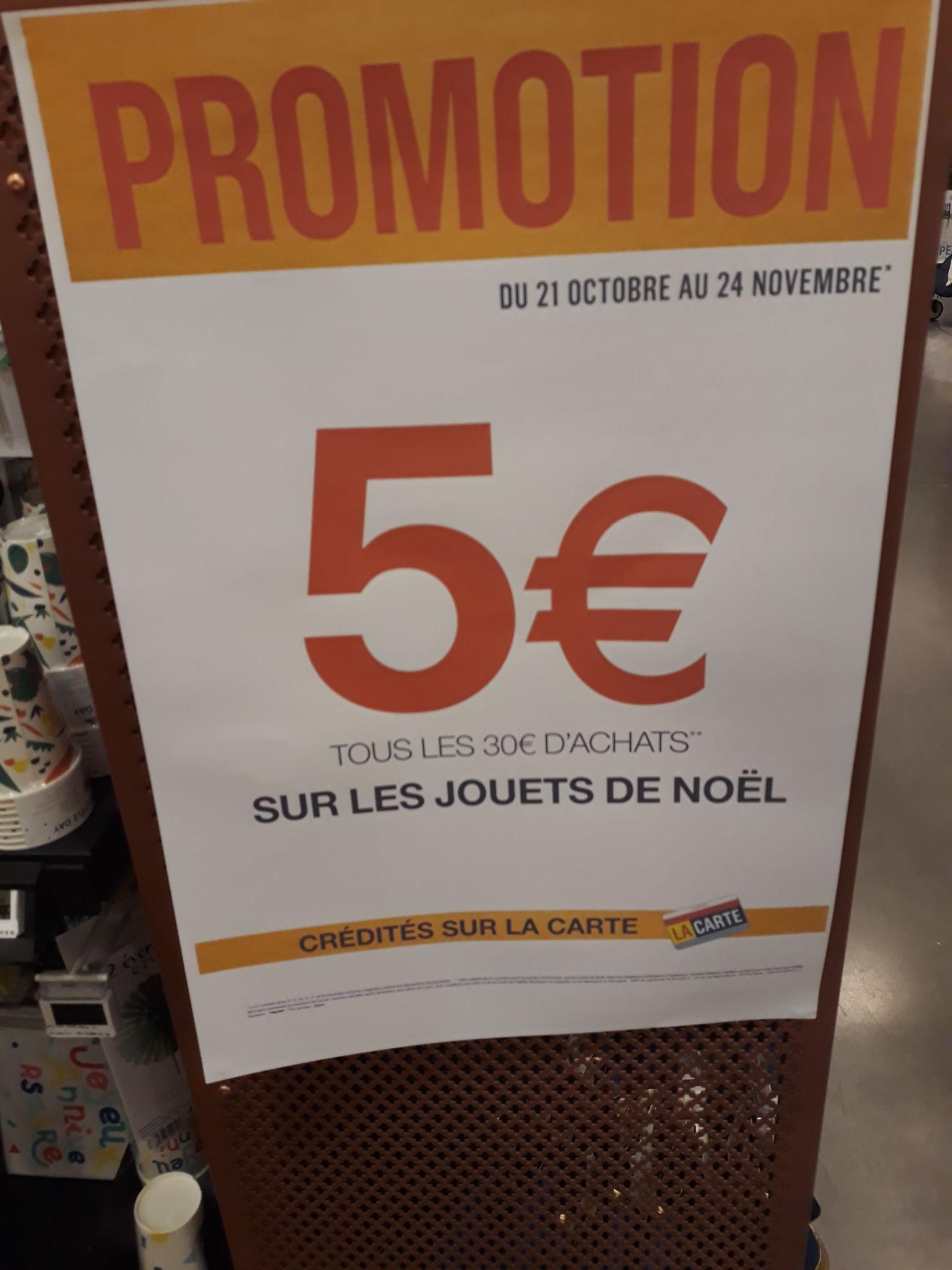 5€ crédités tous les 30€ sur les jouets