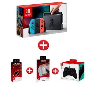 Pack Console Nintendo Switch + Manette Hori + Cordon USB + Verre trempé