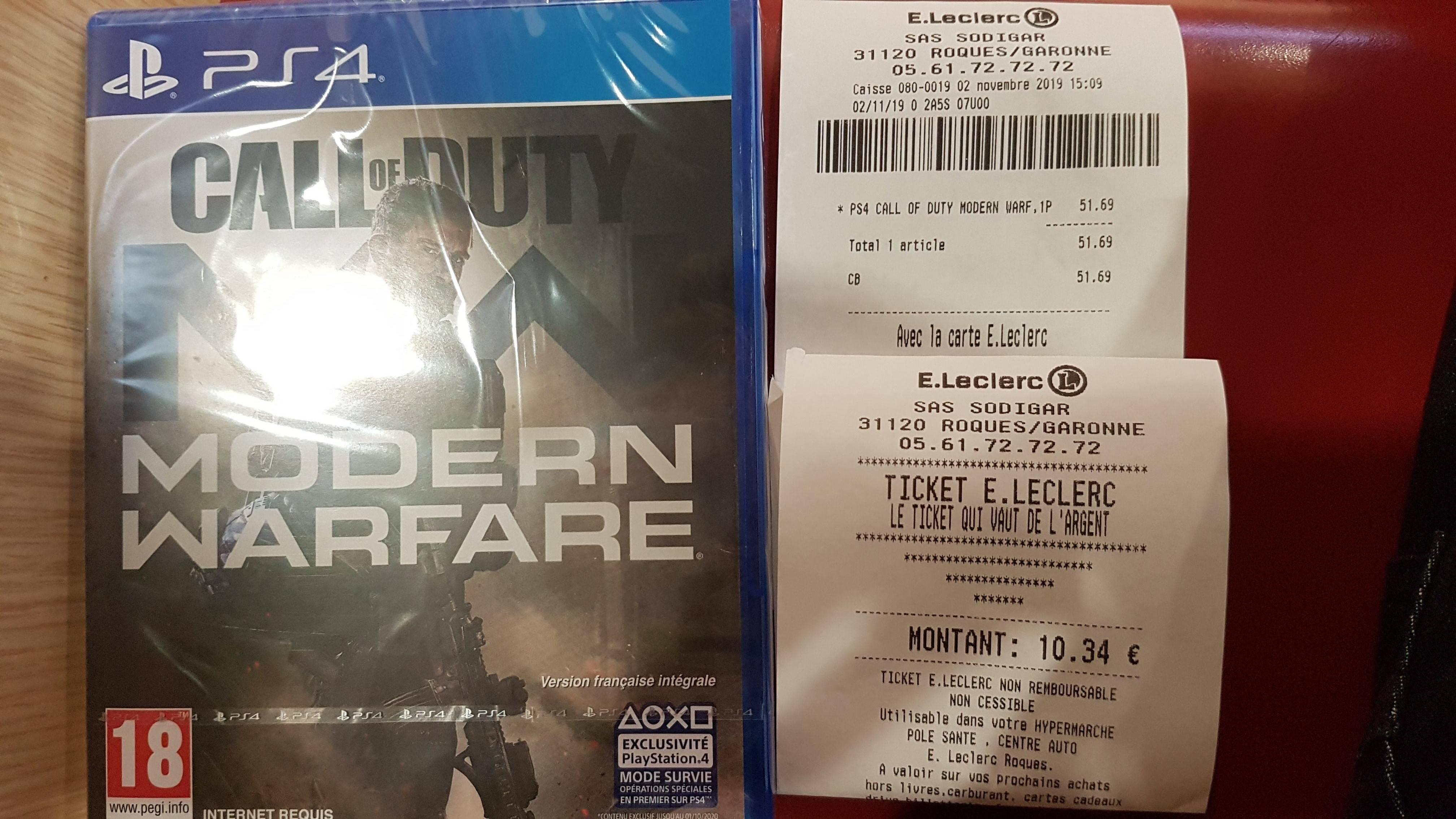 Toulouse (31) Call of Duty: Modern Warfare sur PS4, Xbox One à 41.35€ (Via 10.34€ en Bon d'achat)